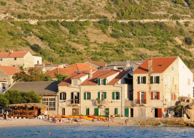 View of a mountain and seaside village in Croatia.